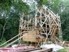 Сруб реставрируемой мельницы-столбовки на Щелоковском хуторе готов на половину